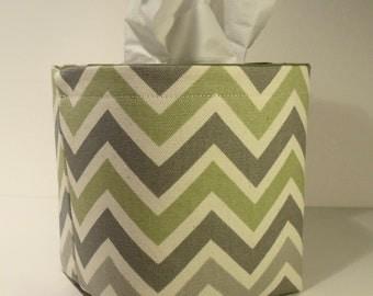 Tissue Holder-Fabric Basket Organizer Bin Storage Container-Sage Green, Gray and Ivory Chevron Zig Zag Stripe with Sage Green Interior