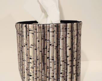 Tissue Holder-Fabric Basket Organizer Bin Storage Container-Birch Trees with Black Interior