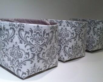 Beautiful Mini Fabric Storage Basket Bin Organizer Storage Containers (Set Of 3) Gray  Damask
