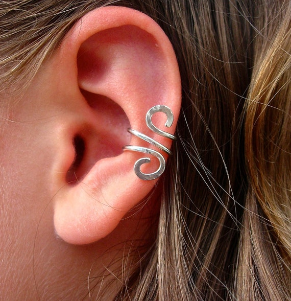 ear cuff jewelry single silver filled or sterling silver ear. Black Bedroom Furniture Sets. Home Design Ideas