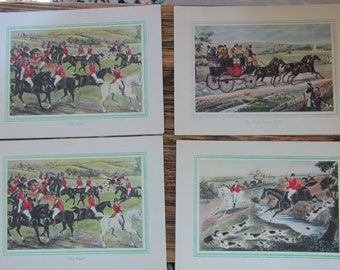 Vintage Christmas Cards Never Used 4 Cards Hunt Scenes