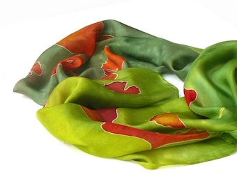Hand painted silk scarf, Ginkgo Silk Scarf , Green silk Scarf