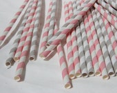 Paper Straws in Light Pink and Grey and White Stripes, Pack of 100