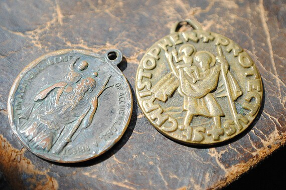 Two Vintage Religious Saints Brass Medals for Catholic Assemblage