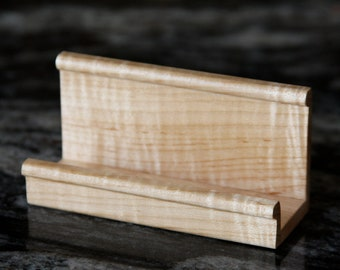 Business or Recipe Card Holder Handmade out of Curly Maple- Free Shipping To USA