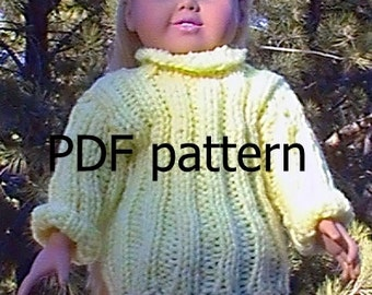 "033  Knit Pattern for 18"" doll-classic Rib Knit Pullover"