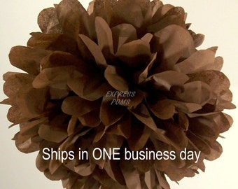 Chocolate Tissue Paper Pom Pom - 1 Medium Pom - 1 Piece - Ships within ONE Business Day