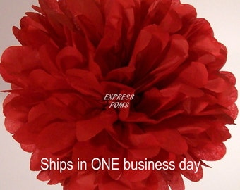 Scarlet Red Tissue Paper Pom Pom - 1 Large Pom - 1 Piece - Ships within ONE Business Day
