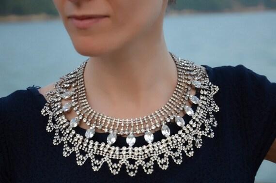 SALE Margot - beautiful swarovski rhinestones statement necklace - ready to ship