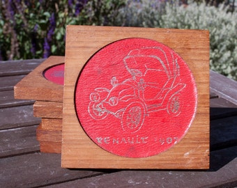 Awesome set of vintage coasters featuring classic turn of the century cars