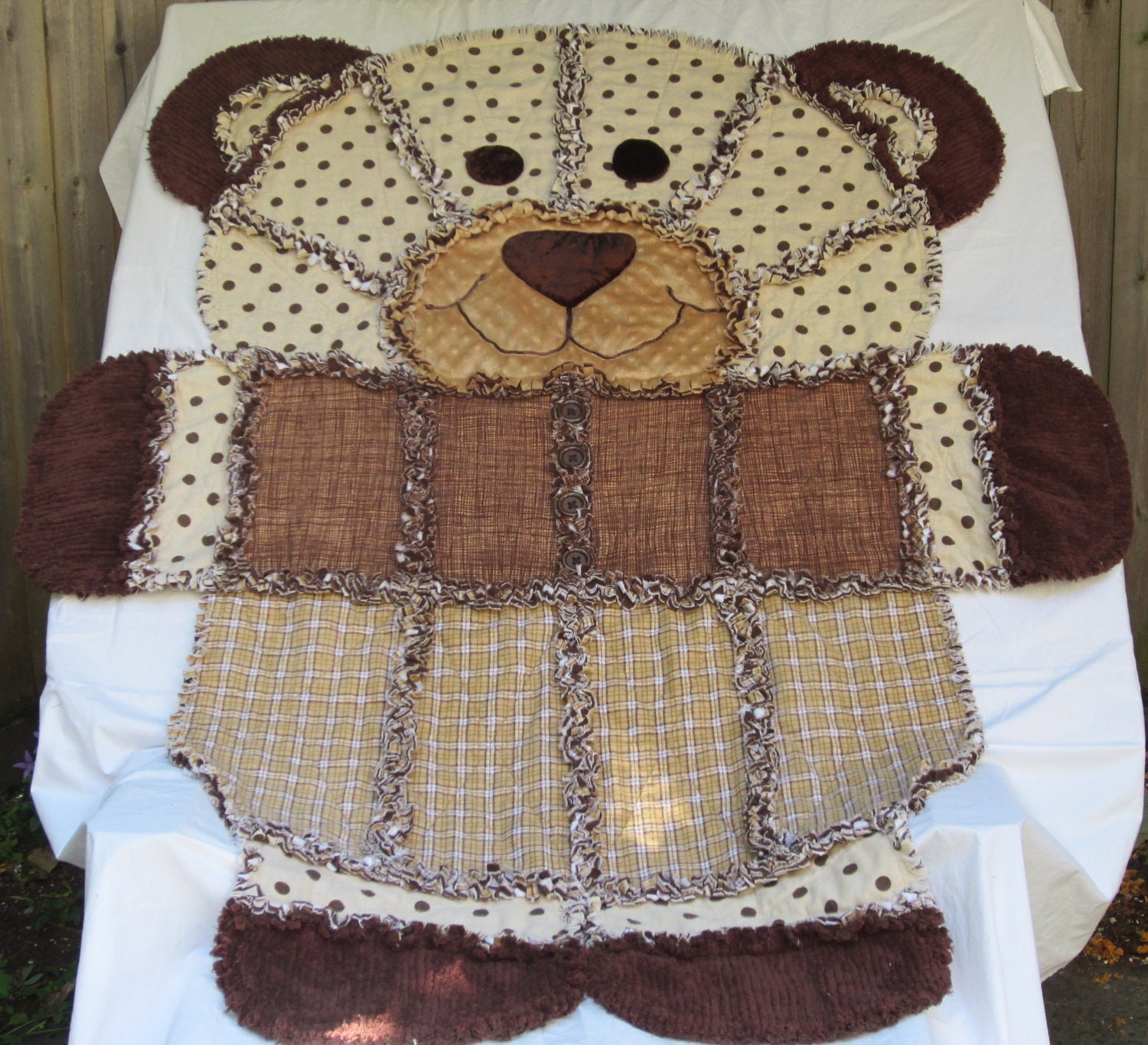 Bear Rag Quilt Childs Rag Quilt Chocolate Brown Dots