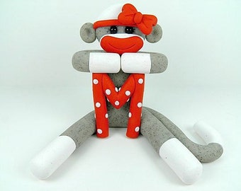 Girl Sock Monkey Birthday Cake Topper Polymer Clay