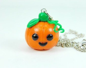 Kawaii Halloween Pumpkin Charm Necklace Pendant Jewelry Polymer Clay