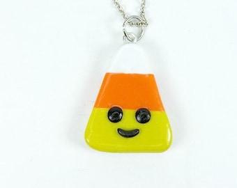 Kawaii Halloween Candy Corn Charm Necklace Jewelry Polymer Clay