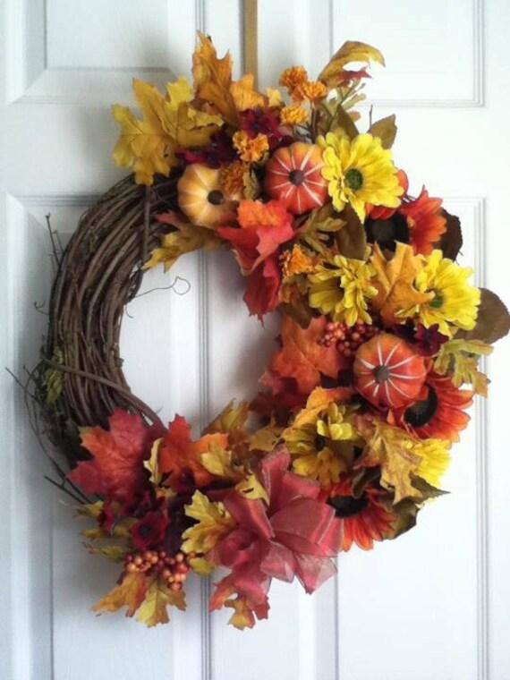 "Free Shipping  18"" Fall Wreath"