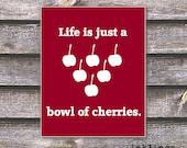 "8""x10"" Printable / Digital Poster 'Cherries' - in Crimson red - JPG - Instant download"
