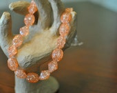 Acrylic Orange Crackle Twist Beaded 16.5 in Necklace