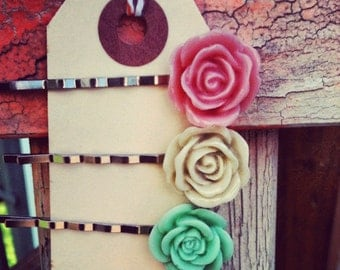 Set of 3 Rose Flower Bobby Pins Pink / Ivory / Green Silver Hair Accessories Clip