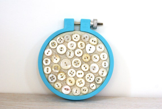 Embroidery Hoop Art, Upcycled Textile And Vintage Shell Button Art, Taffy On The Beach, Candy Blue, Neutral, Button Decor, Ornament
