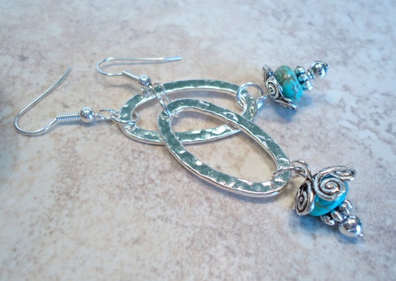 Turquoise Silver Hoop Dangle Earrings