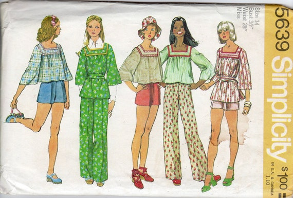 """1970s Misses' Smock, Pants & Shorts Pattern - Size 14, Bust 36"""" - Simplicity 5639"""