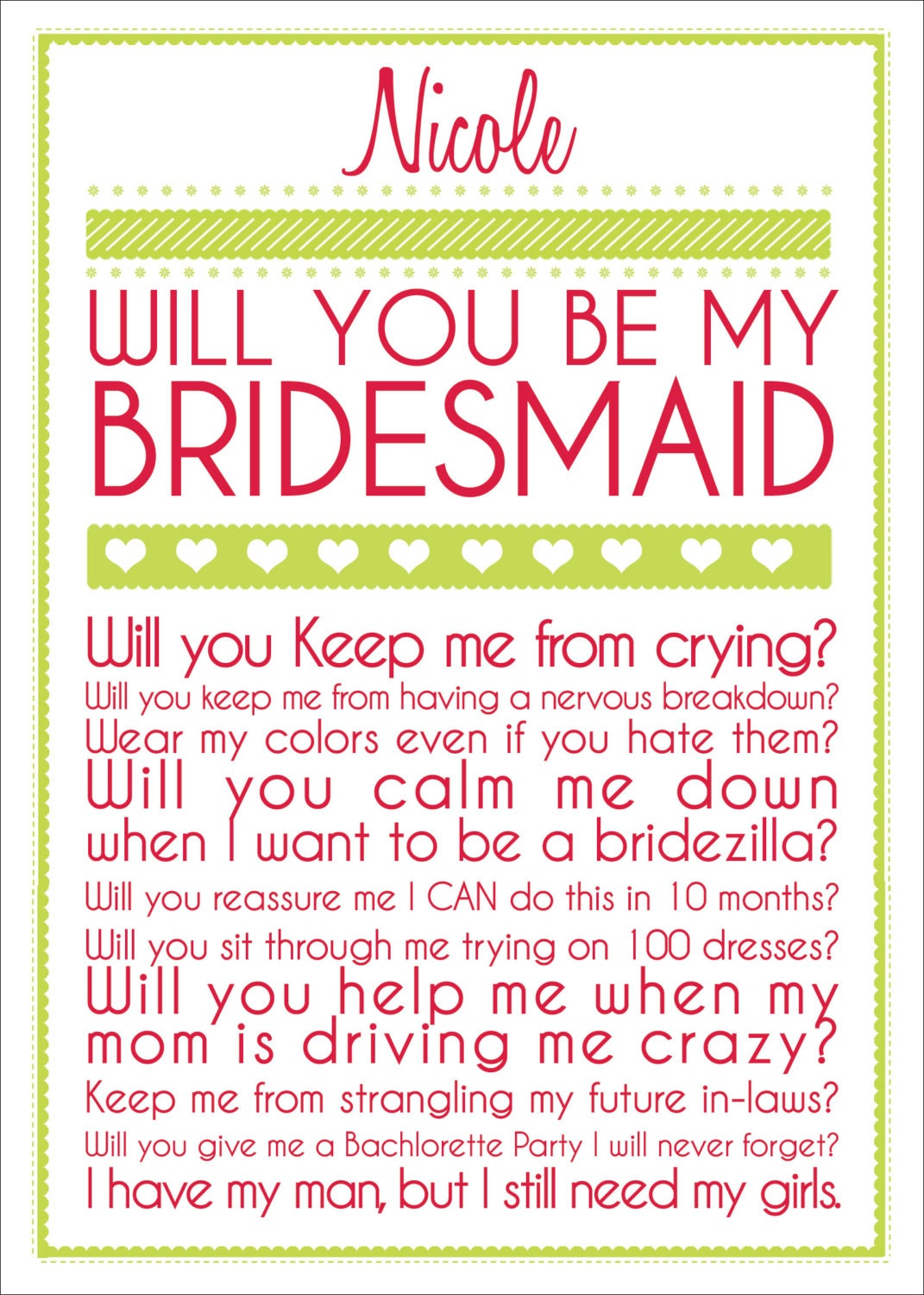 Thank You For Wedding Gift From Someone Not Invited : Bridesmaid Card by BelisarioPhotography on Etsy