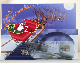 Pop up Santa Christmas card 3D Red Sleigh and reindeer greeting card