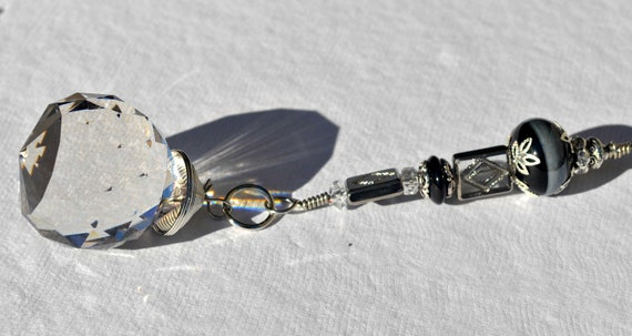 Black and Silver Crystal Ceiling Fan Pull