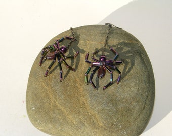 Purple Spider Earrings - Glass Pearl and Bead - Beaded Halloween Earrings - Holiday Jewelry - gothic - Wedding - Aracnid - Creepy Crawly