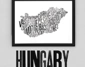 Hungary Fontmap - Limited edition typographic map digital print, 420x297mm
