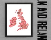 UK & Ireland Font Map (Red) Limited edition Digital Print, 297x420mm