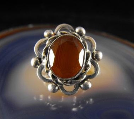 Vintage Carnelian Ring Silver Band Faceted Stone