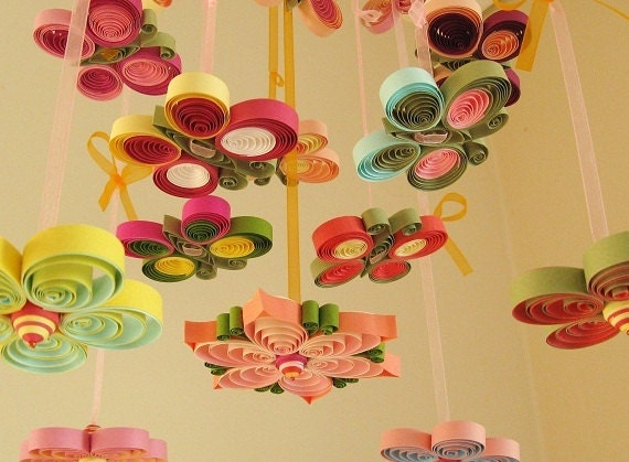 Baby Mobile - Crib Mobile - Nursery Mobile - Girl Mobile Exotic Garden Flower Mobile - Quilled Handmade - Pink Mobil 7 ,