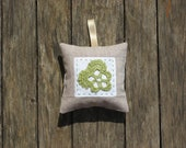 Lavender Cushion Decoration with crochet flower and embroidery in beige, white and green