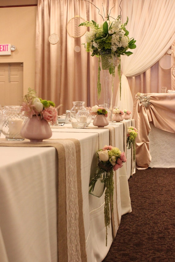burlap wedding decorations for sale items similar to 5 ft 12x60 burlap lace table runner 2147