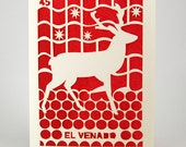 Loteria Reindeer in spanish, laser cut, a great Christmas Card, a wonderful Holiday Cards