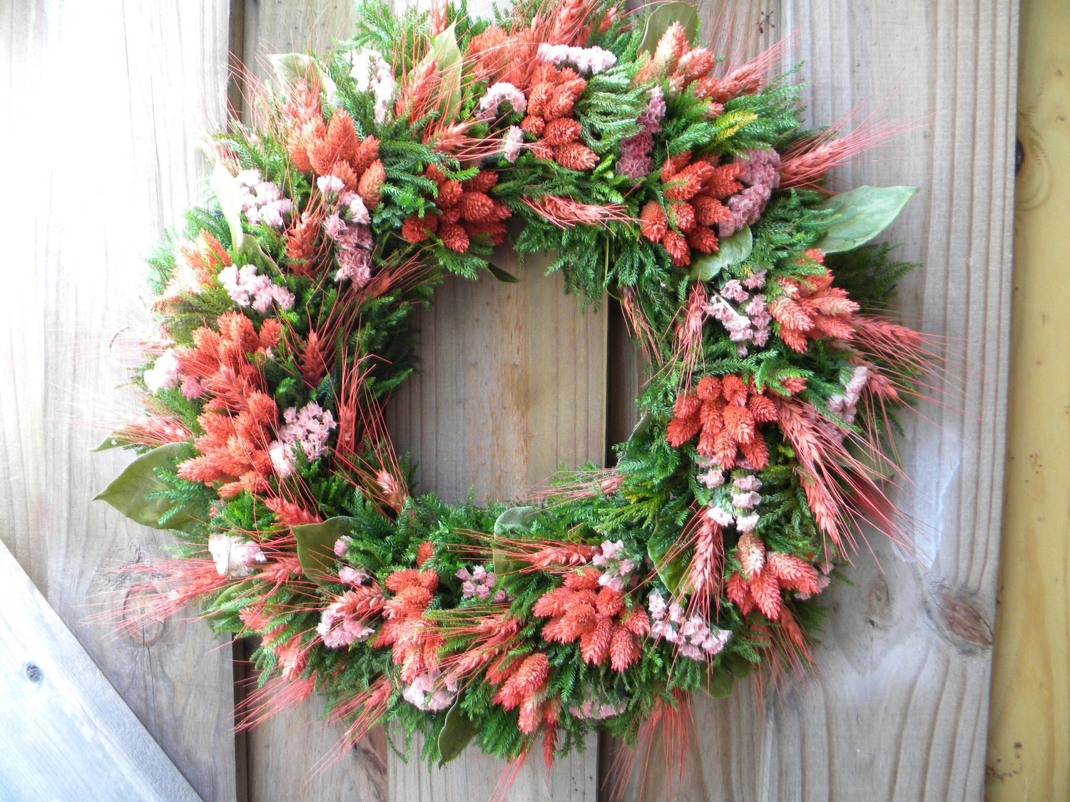 Mandarin Color Dried Flower Wreath