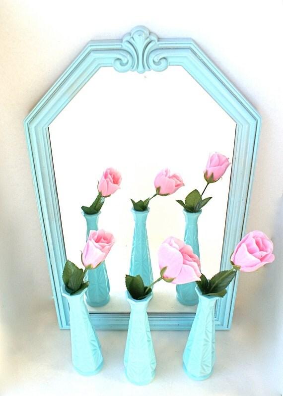 Tiffany Blue Painted Milk Glass Vases Set of Three