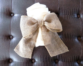 Burlap Rose Curtain Tie Back Choose Your Size and Color