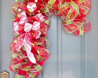 Christmas Wreath - Candy Cane Wreath  - Deco Mesh Wreath