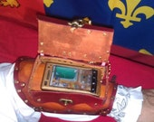Leather Steampunk Arm Bracer for Droid or iPhone, Commodore's version.