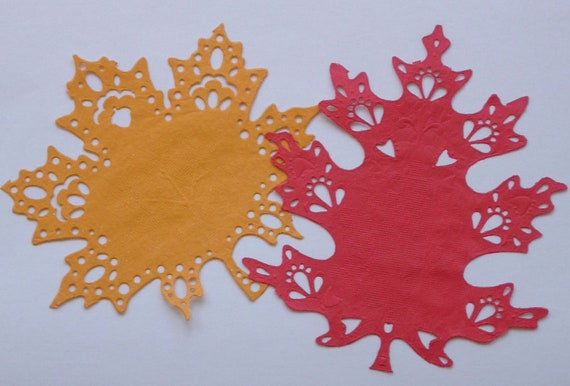 Fall Leaf  Paper Doilies, 6 inch, set of 16, red and orange