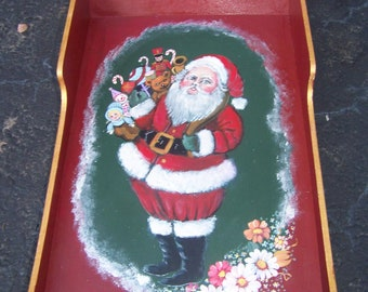 Large Christmas sleigh hand painted signed by me..wood-Christmas Sleigh Tray