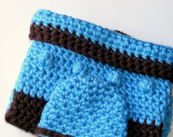 Baby Boy Cocoon and Hat set, Deluxe Crochet Blanket Cozy with Matching Hat as a Unique Baby Shower Gift Blue and Brown combo