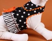 HALLOWEEN:  Black and White Polka Dot Dog Harness