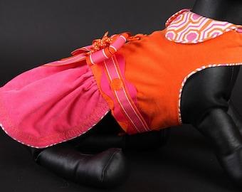 WINTER:  Geometric Pink & Orange Dog Dress