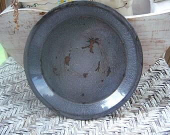 Primitive graniteware pan, enamelware pan,  rustic country kitchen vintage Graniteware Pan,Enamelware Piepan, Country Rustic Kitchen Decor