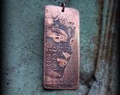 Etched metal, Steampunk, Handmade Copper pendant,by Recreate4U.