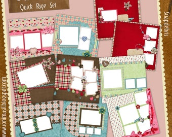 A Little Romance Digital Scrapbook Premade Quick Page Set