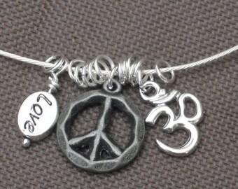 Necklace-Charm Necklace-Silver Charm Necklace-Charm Jewelry-Om Necklace-Peace Necklace-Silver Choker-OOAK